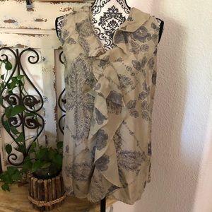 Cabi silk ruffle detail sleeveless blouse